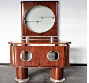 Italian  Midcentury  rosewood and metal  Bar set