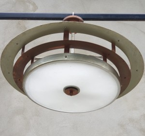 Italian Deco ceiling lamp in Green  nickel-plated ,copper and glass