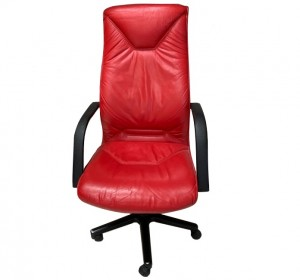 Italian Red leather  office chair,1960-70