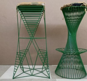 Set of two Emerald Green  metal stools,1970