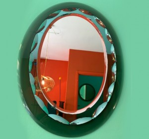 Italian  Midcentury Fontana Arte Emerald Green Mirror